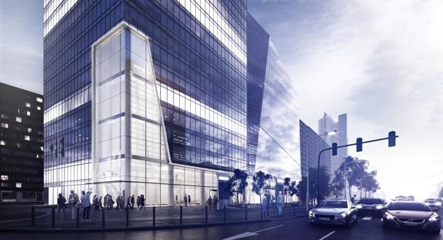 Architektura Warszawy. Wieżowiec Q22 projektu Kuryłowicz & Associates. W centrum Warszawy powstaje szklana bryła przypominająca kryształ