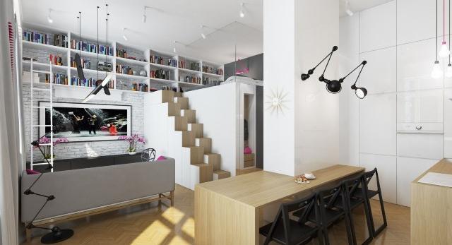 Kawalerki i małe mieszkania. Taneczna kawalerka, czyli przestrzeń dla tancerki według Dragon Art