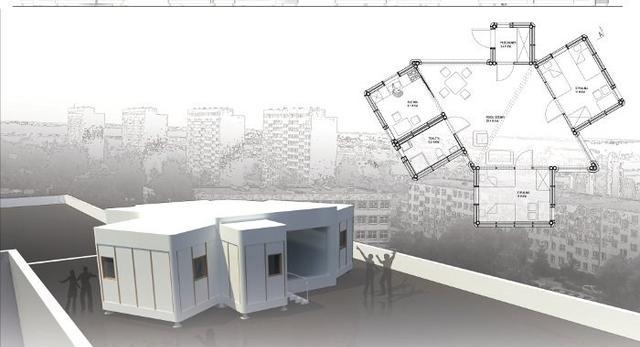 Papierowy dom treningowy. Bryła z papieru, papierowe meble