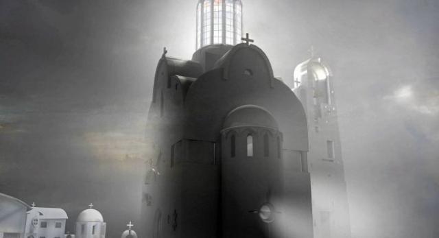 Projekt cerkwi, przygotowany przez Jerzego Uścinowicza, profesora Politechniki Białostockiej