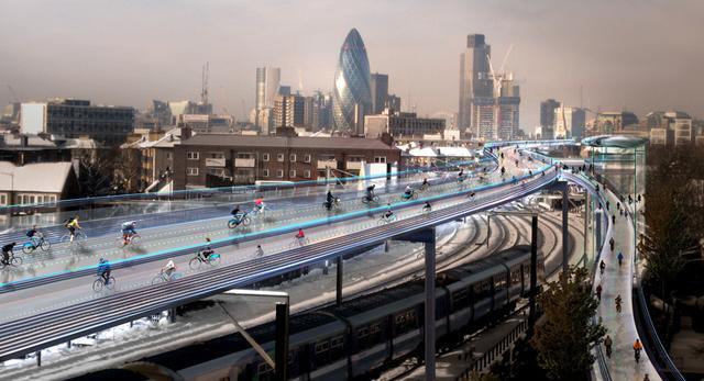 Nowoczesna architektura Wielkiej Brytanii: rowerowe autostrady nad Londynem projektu Normana Fostera
