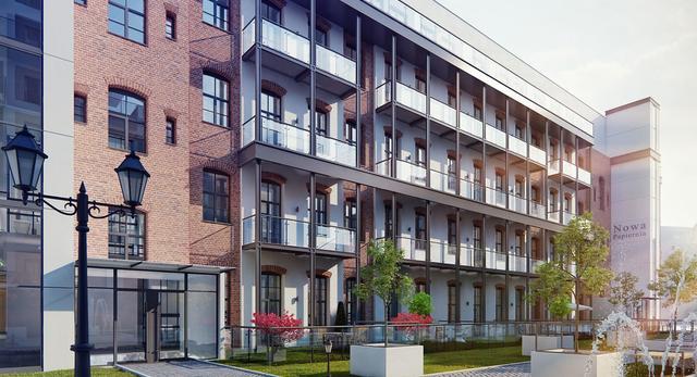 Stara Papiernia we Wrocławiu - wizualizacja budynku A i wewnętrznego patio