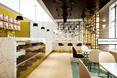 kawiarnia Wedel; nad ladą lampy w formie cylindrów i meloników