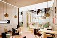 kawiarnia Wedel; pastelowe kolory krzeseł w stylu retro