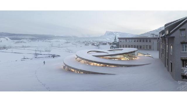 Projekt Spiralnego muzeum dla zegarmistrzów szwajcarskich. Autor: Bjarke Ingels Group