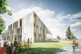 Bryła nowej szkoły zawodowej w Danii: skrzydła oddzieone dziedzińcami