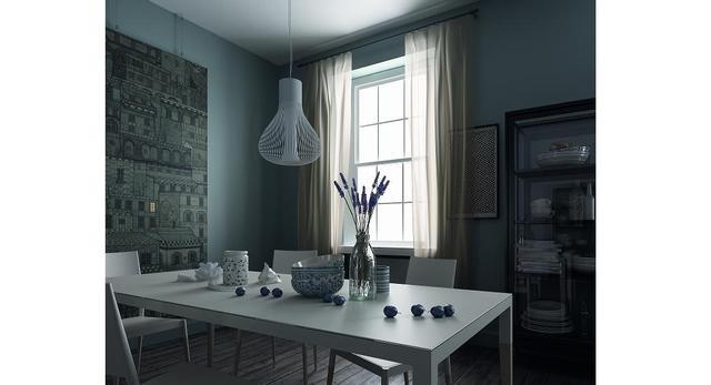 Jadalnia apartamentu w Rydze autorstwa włoskiego designera Filippo Carandini