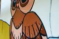 Sowa - symbol mądrości. Element kompozycji muralu