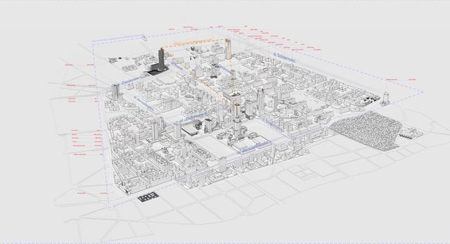 Analiza miasta. Jeden z pierwszych etapów projektowych wizjonerskiej bryły wysokościowca w Warszawie  Autor: Marcin Gromczewski