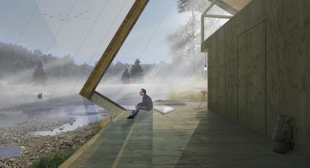 Wnętrze jednego z Domków Samotnika w projekcie Pustelni pod Warszawą  autor: Katarzyna Sosińska