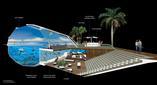 Przekrój przez bryłę projektu The Swimarium 3D  autorzy: architekci z OVA Studio, Hong Kong