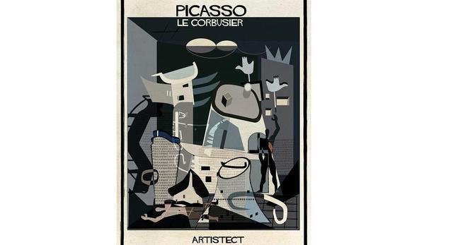 Kompozycja Pablo Picasso z Modulorem Le Corbusiera