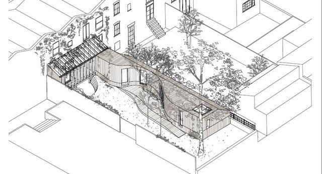 Szkic 3D domu Tree House autorstwa a6 architects