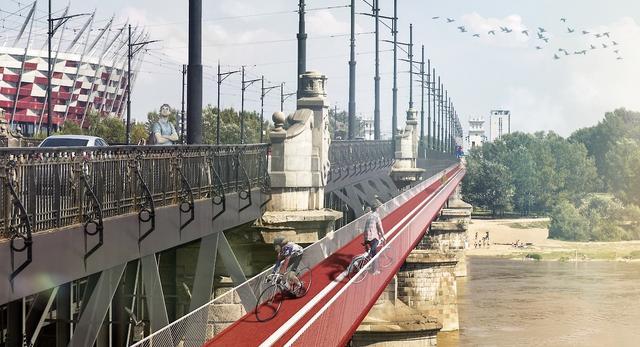 Futuwawa 2014: ścieżka rowerowa przy moście Poniatowskiego w Warszawie