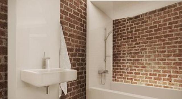"""Wizualizacja projektu łazienki w formie modułu -wstęgi. I miejsce w konkursie Hansgrohe """"Select Yourself"""" autor: Agnieszka Konopka"""