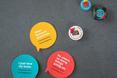 Materiały promocyjne Łódź Design Festival 2013 - naklejki i piny. Ciekawe jak będą wyglądały tegoroczne