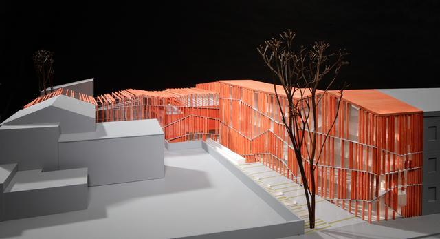 Makieta Małopolskiego Ogródu Sztuki autorstwa Ingarden & Ewý Architekci z Krakowa - jedna z siedmiu brył eliminowanych do nagrody architektonicznej im. Miesa Van Der Rohe 2015