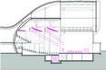 Przekrój pokazujący jak zmienia się sufit, a z nim akustyka w sali głównej - bryła Theatre de Stoep w miejscowości Spijkenisse w Holandii  autor: UNStudio