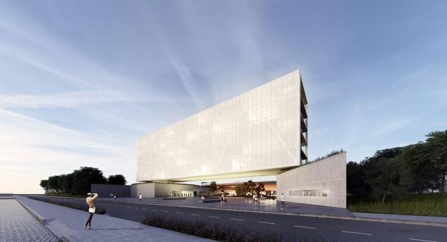 Architektura współczesna UFCSP w Brazylii. Bryła lewituje nad ziemią tworząc szerokie horyzontalne przejście  autor:  OSPA | ARQUITETURA E URBANISMO
