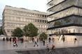 Przestrzeń miejska wokół brył - projekt dwóch biurowców w porcie Moguncji (Niemcy)  autor: pracownia architektoniczna MVRDV oraz morePlatz