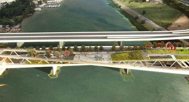 Bryła najbardziej rekreacyjnego mostu na świecie - projekt 11th Street Bridge Park–Anacostia Crossing   autor: Pracownia architektoniczna OMA