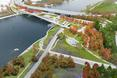 Bryła mostu i jej kontynuacja w formie parku - projekt 11th Street Bridge Park–Anacostia Crossing  autor: Pracownia architektoniczna OMA