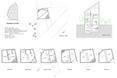 Schemat rzutów i przekrój bryły Tsubomi House ( Tokyo Bud House) - mały dom projektu biura FLAT HOUSE z Tokio