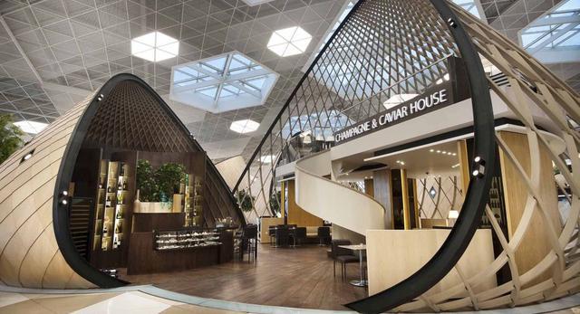 Wnętrza Portu Lotniczego w Azerbejdżanie. Konstrukcja drewniana kokonów pokryta jest dębem amerykańskim
