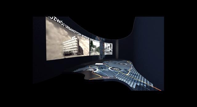 Architektura wnętrz nowego muzeum w Gdyni. Wizualizacja sali w Muzeum Emigracji