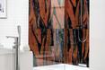 Inferno - płytki ceramiczne na ścianie kabiny prysznicowej. Architektura wnętrz w ognistych barwach