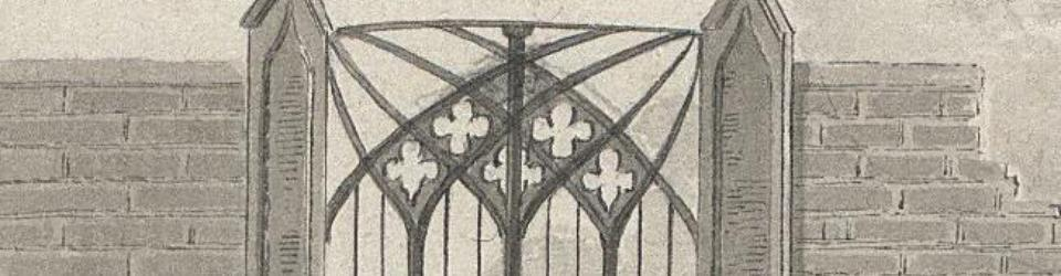 Neogotyk w architekturze. Szkic bramy, Anna Potocka 1821, w: Projekty bram i ogrodzeń