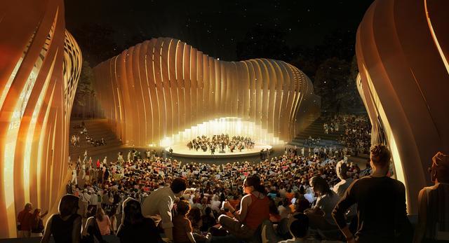 Wizualizacja nocna bryły Sounscape - domu muzyki w Budapeszcie. Autorem projektu jest pracownia group8asia