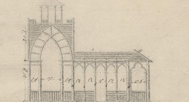 Projekt altany w stylu neogotyckim