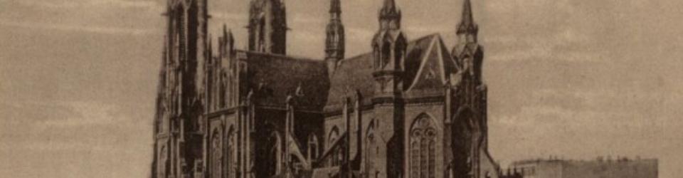 Kościół św. Floriana na Pradze, Warszawa. Styl wiślano-bałtycki, jedna z odmian neogotyku. Pocztówka, lata 30. XX wieku
