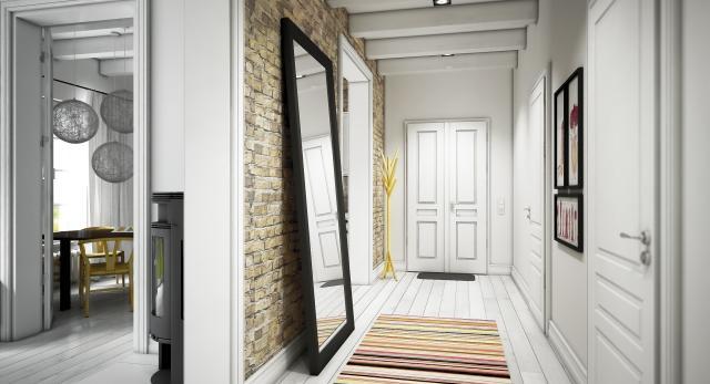 Architektura wnetrz w bieli - jasne kolory dobrze sprawdzają się w korytarzach