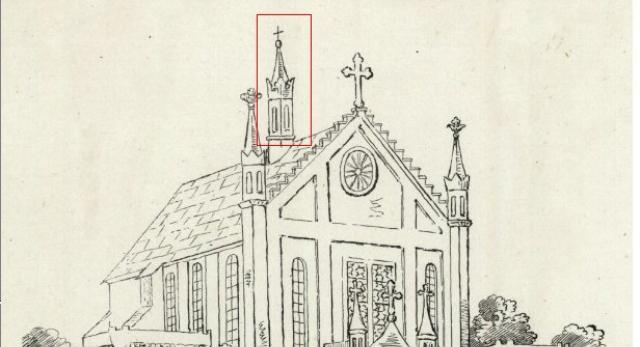 Kościół z sygnaturką i rozetą w szczycie, rys. ok. 1910