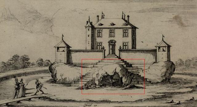 Israël Silvestre, mały pałac z grotą i fontanną, 2 poł. XVII wieku. Fot. Polona