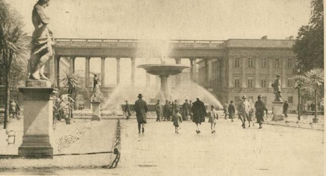 Fontanna w Ogrodzie Saskim w Warszawie, ok. 1920. Fot. Polona.