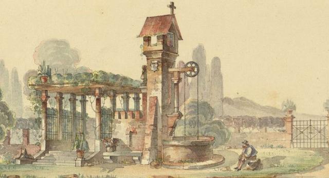Franciszek Maria Lanci, szkic z pergolą i studnią, ok. 1849, Polona