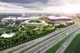Kompleks sportowy w Brukseli, z biało-czerwoną bryłą stadionu