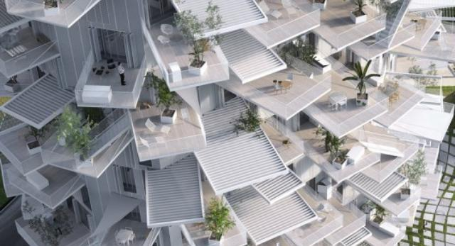 Bryła White Tree projektu stararchitekta Sou Fujimoto. Tarasy i balkony rozchodzą się promieniście