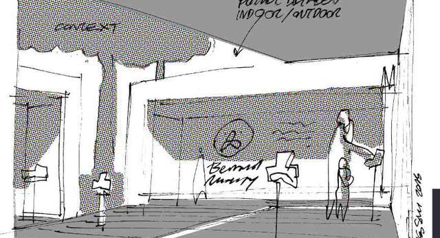 Szkic mobilnego pawilonu wystawowego, Jakub Szczęsny