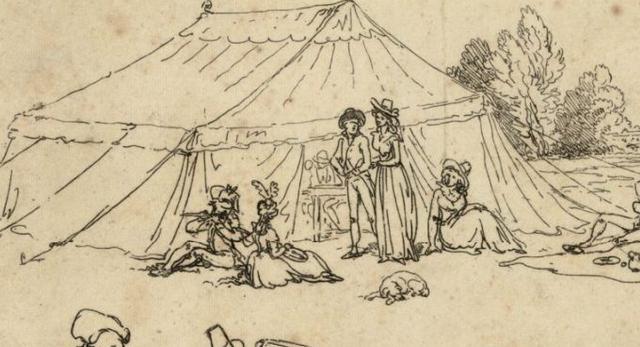 Prawie jak nad Wisłą. Namiot i modne towarzystwo ok. 1790