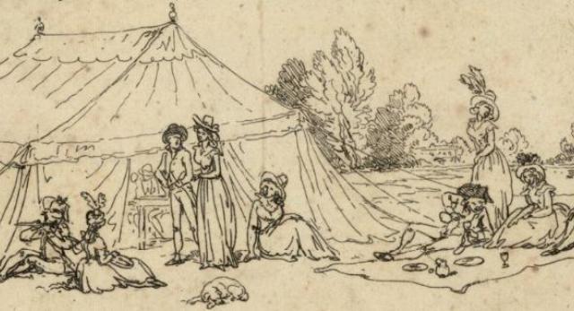 Namiot, ok. 1790. Ryc. Thomas Rowlandson. Polona