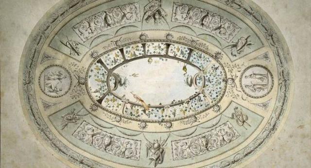 Plafon z ornamentalną dekoracją (groteska), Vincenzo Brenna (1745-1820)