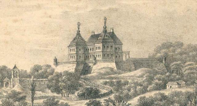Palazzo in fortezza, Podhorce. Litografia Karola Auera, ok. 1830, Polona