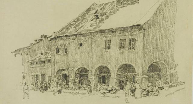 Podcienia domów w Żółkwi. Aleksander Mann, Polona
