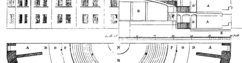 Projekt Panoptikonu. W centrum wielkiej rotundy Bentham zaplanował pomieszczenia dla strażnikow, na obrzeżach cele więzienne