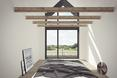 Sypialnia na poddaszu, dom podcieniowy projektu BXB Studio