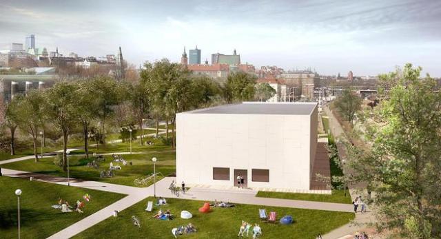 Bryła pawilonu wystawowego MSN nad Wisłą w Warszawie